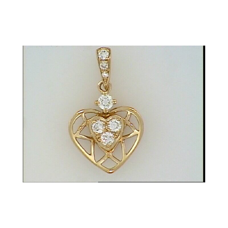 Showcase Collection 14KR Heart Pendant with Diamond Accents