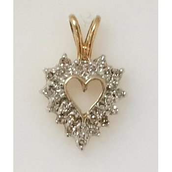 10KY Diamond Heart Pendant