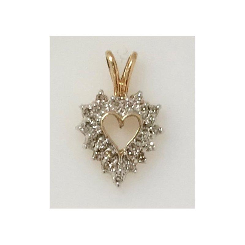 Estate Specials 10KY Diamond Heart Pendant