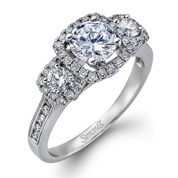 18KW 3 Stone Halo Semi Set Engagement Ring