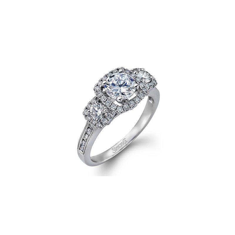Showcase Collection 18KW 3 Stone Halo Semi Set Engagement Ring
