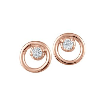 10KR Circle Earrings with Diamond Accent