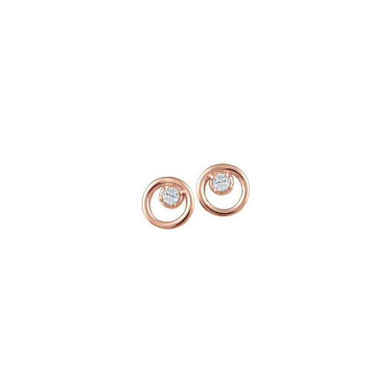 Fire and Ice 10KR Circle Earrings with Diamond Accent