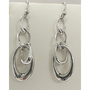 Sterling Silver Multi Oval Drop Earrings