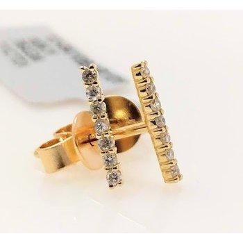 10KY Bar Earrings with Diamond Accents