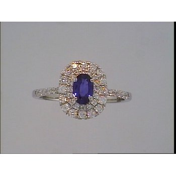 Double Halo Sapphire Ring