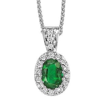 Oval Emerald and Diamond Pendant. 14K W