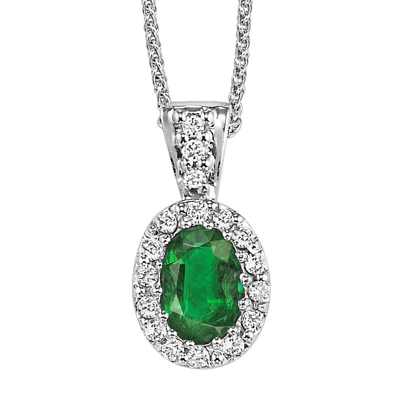 Grandis Signature Oval Emerald and Diamond Pendant. 14K W