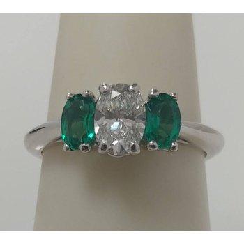 3 Stone Emerald and Diamond Ring