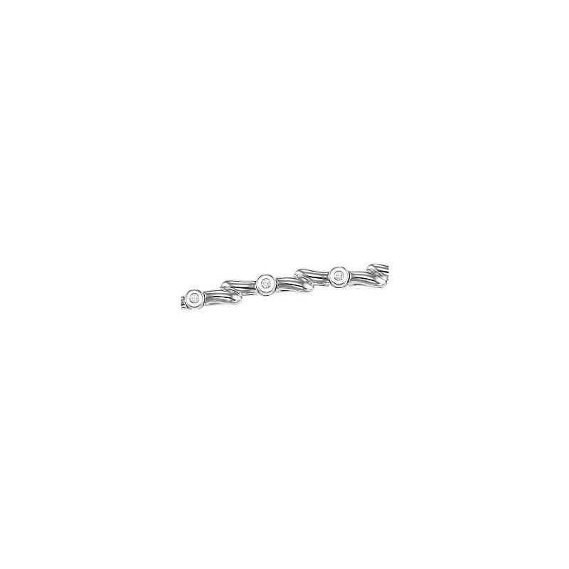 Grandis Signature Diamond Link Bracelet in 14K White Gold GTN486