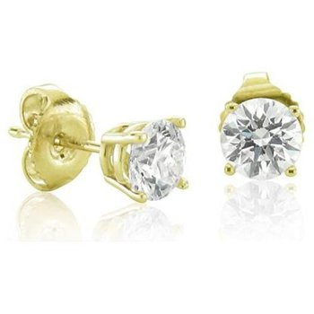 14K Yellow Gold Diamond Stud Earrings 0.63 ctw   gjD0217