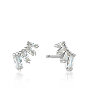 Silver Glow Bar Stud Earrings
