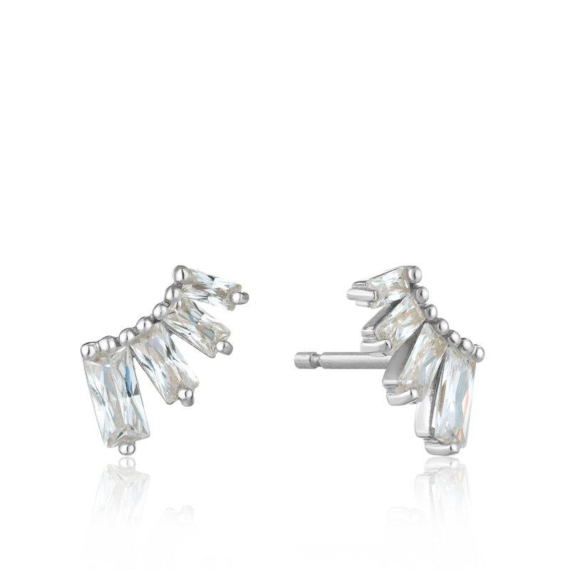 ANIA HAIE Silver Glow Bar Stud Earrings
