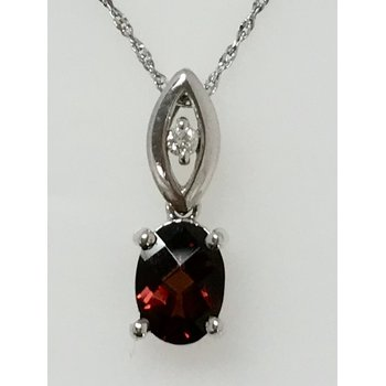 Oval Garnet Pendant with Diamond Accents