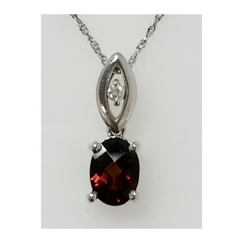 Showcase Collection Oval Garnet Pendant with Diamond Accents