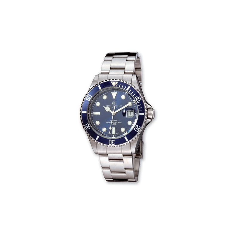 Charles Hubert Stainless Steel Watch with Blue Dial