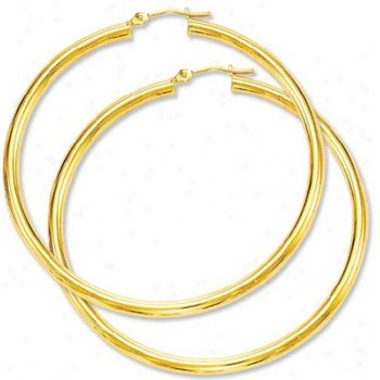 10K Medium Yellow Gold Hoop Earrings