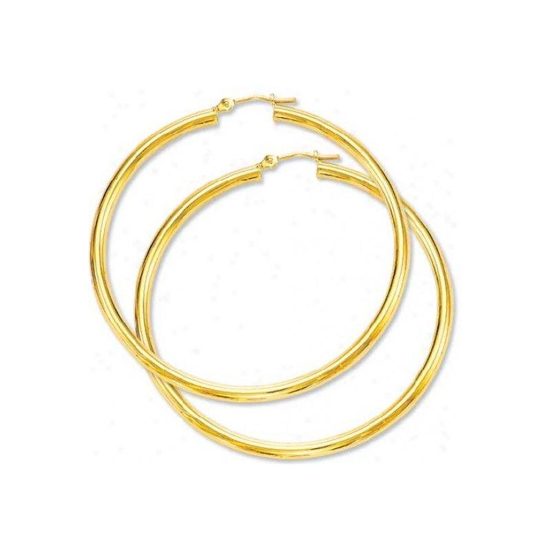 Grandis Signature 10K Medium Yellow Gold Hoop Earrings