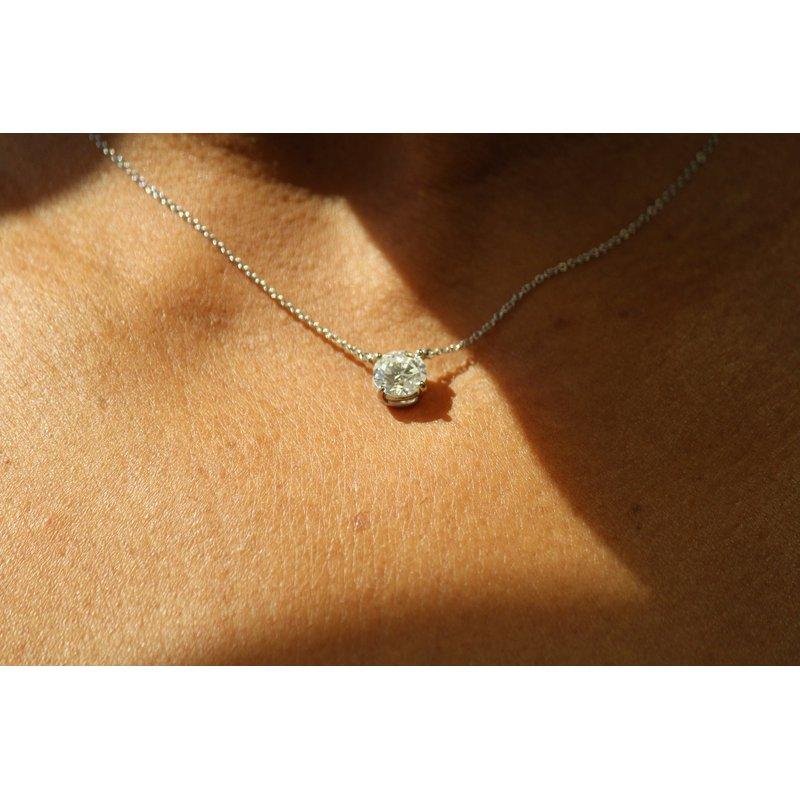 Estate Jewelry  Tiffany Diamond Solitaire Necklace