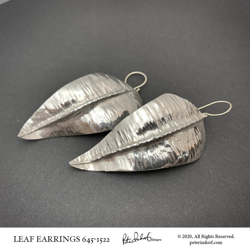 Peter Indorf Collection Fine Silver Leaf Earrings