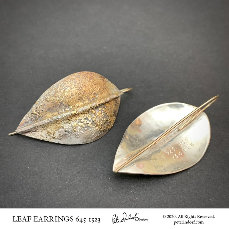 Peter Indorf Collection Leaf Earrings in Sterling & 22KYG