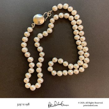 Pearl Necklace with Full Moon Clasp