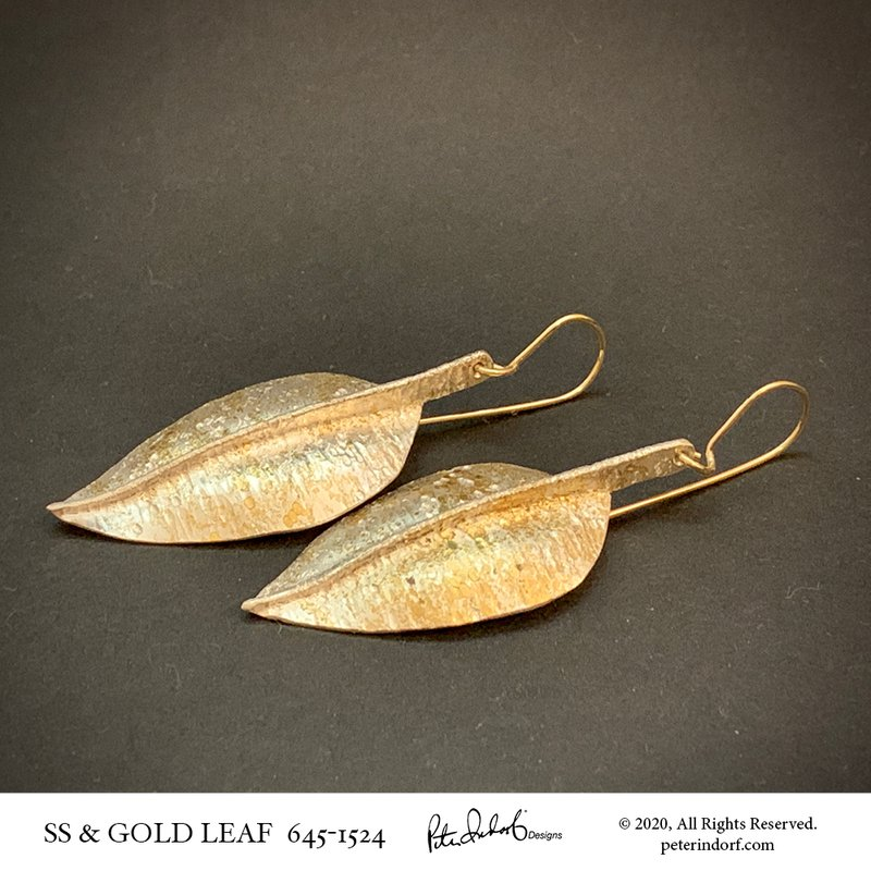 Peter Indorf Collection Leaf Earrings in Sterling and 22KYG