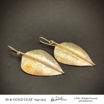 Leaf Earrings in Sterling and 22KYG