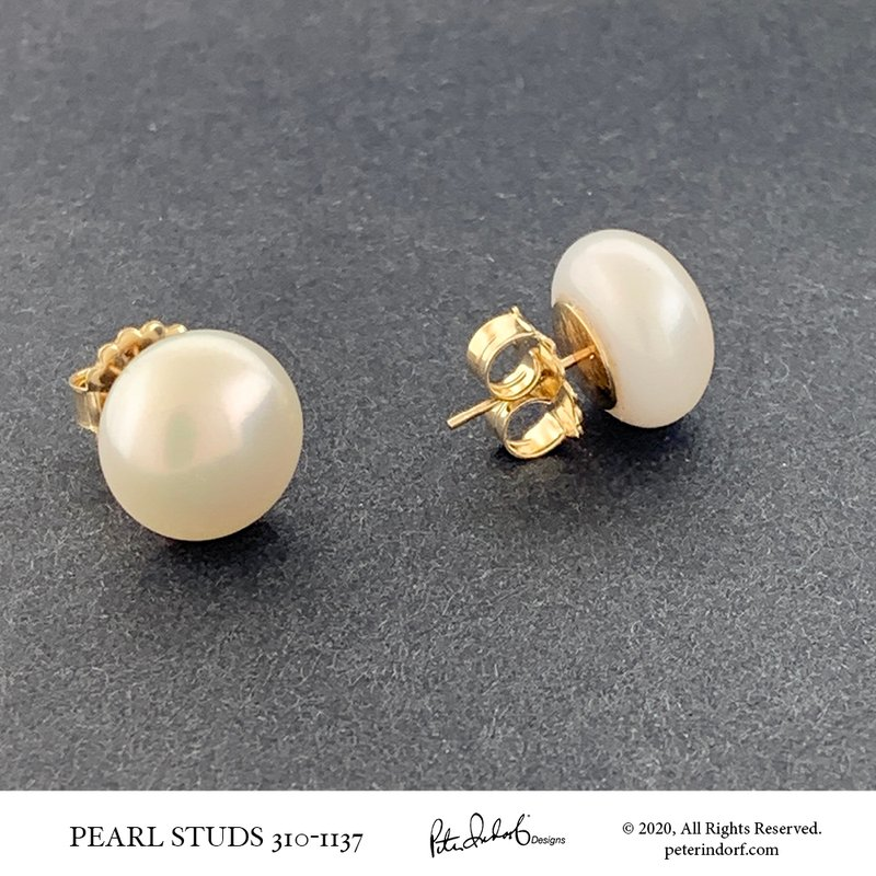 Peter Indorf Collection 13 - 14 mm Round FWC Pearl Stud Earrings
