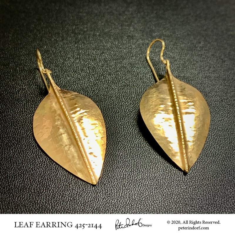 Peter Indorf Collection Hammered Leaf Earrings