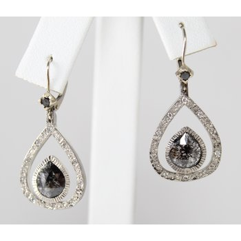 Palladium Black Rose Cut Diamond Earrings
