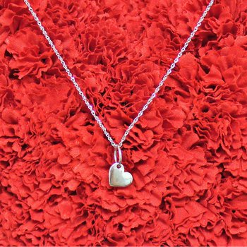 14kt White Gold Heart Necklace