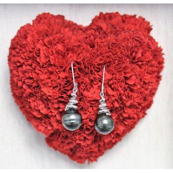 Silver Black Tahitian Pearl Earrings