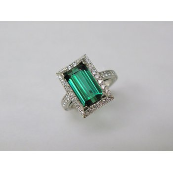 Palladium Green Tourmaline and Diamond Ring