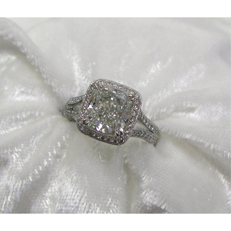 Thomas Farley Design Platinum Cushion Cut Diamond Engagement Ring