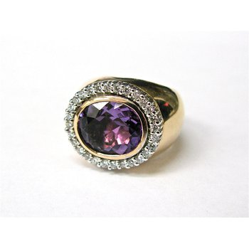 Amethyst and Diamond 14 Karat Gold Ring