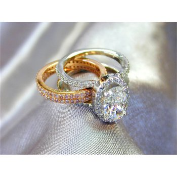 Oval Diamond Center Engagement Set