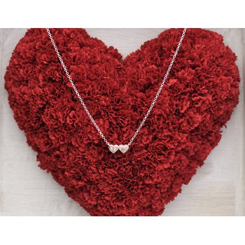 """Silver Double Heart 18"""" Necklace"""