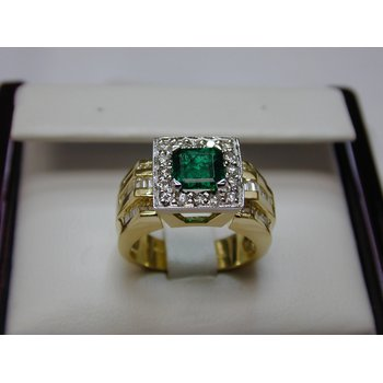 Two-Tone Emerald and Diamond Ring