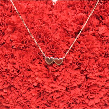 14kt Rose Gold Double Heart Necklace