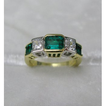 Platinum and 18 Kt Yellow Emerald and Diamond Ring