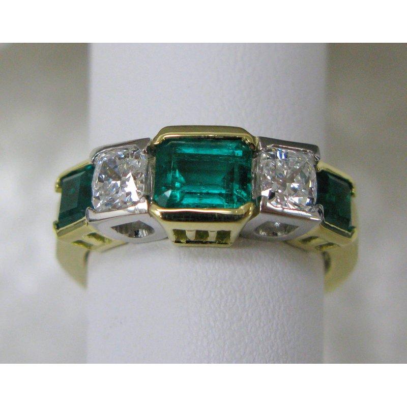 Thomas Farley Design Platinum and 18 Kt Yellow Emerald and Diamond Ring