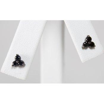 14 Kt White Gold Black Diamond Earrings