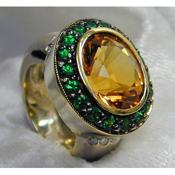 Citrine, Tsavorite, and Diamond Sterling Silver Ring