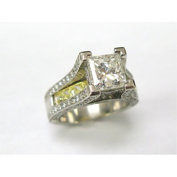 Platinum and 18 Kt Yellow Engagement Ring