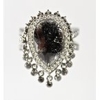 Thomas Farley Design 14 Kt White Gold Pear Shaped Rose Cut Black Diamond Ring