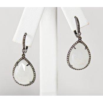 14 Kt White Gold Moonstone and Diamond Earrings