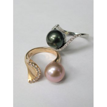 14 Kt Rose Gold Pearl and Diamond Ring/Palladium Pearl and Diamond Ring
