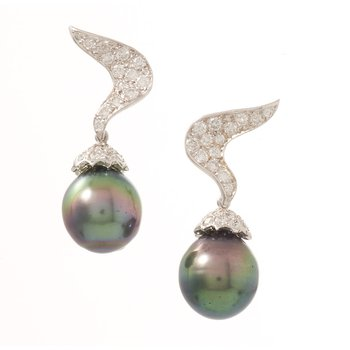 Platinum Black Tahitian Pearl and Diamond Earrings