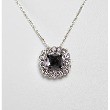 14 Kt White Gold Black & White Diamond Necklace